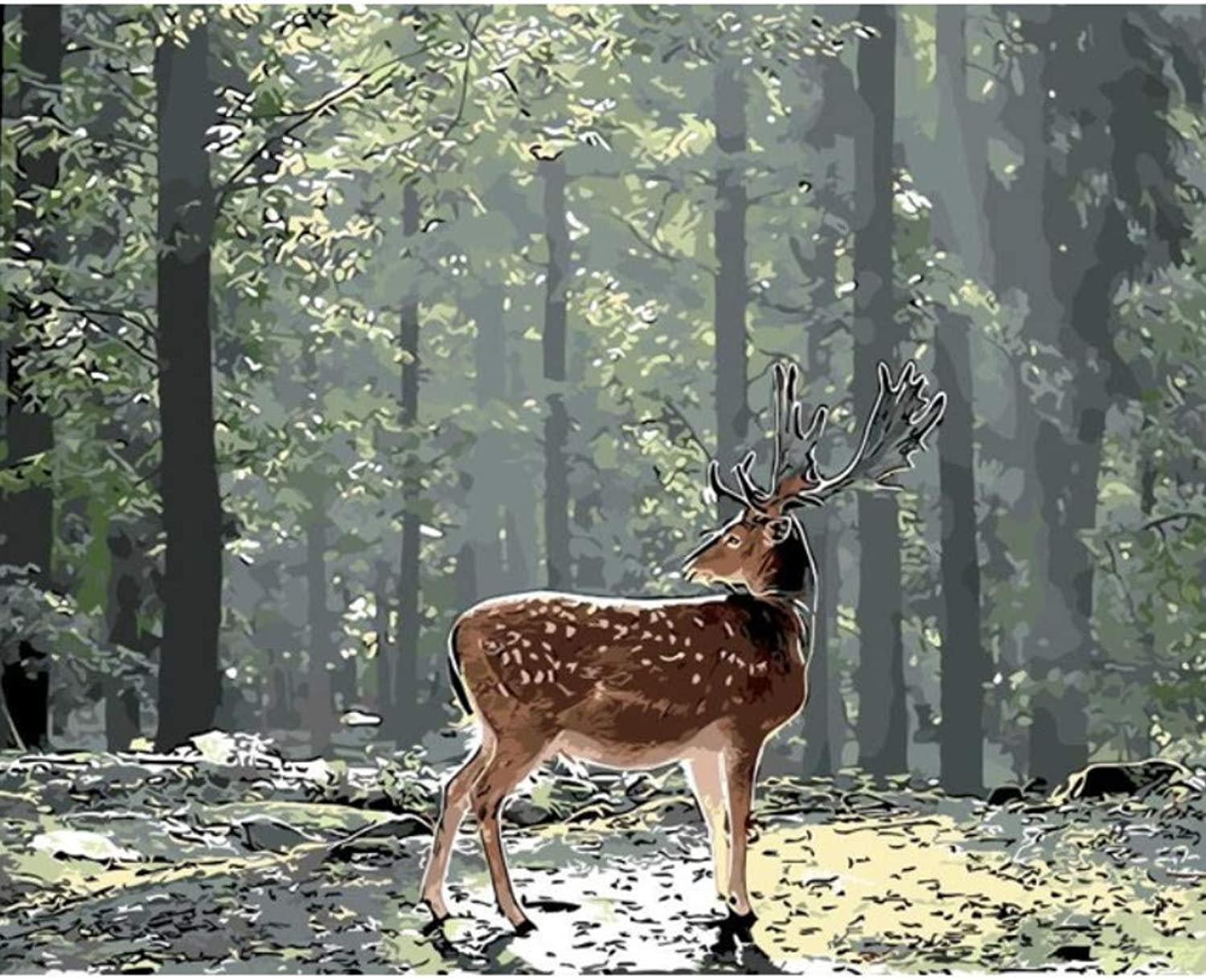 Solitary Deer in The Forest DIY Painting by Numbers Animal Drawing Painting by Numbers Without Frame Home Wall Decor Artwork 50x60CM