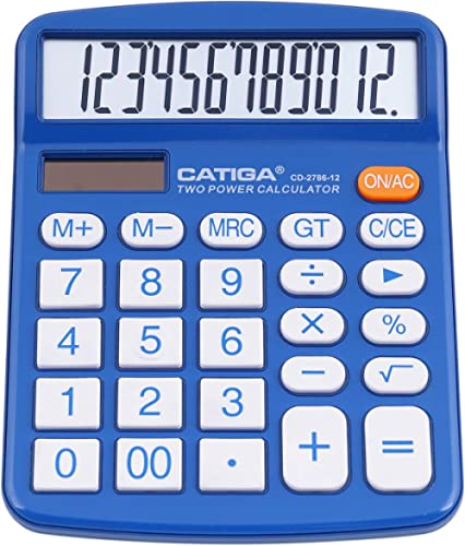 Desktop Calculator 12 Digit with Large LCD Display and Sensitive Button, Solar and Battery Dual Power, Standard Funct...
