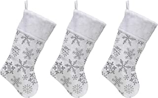 White Velvet Christmas Stockings - 3-Pack of 21 inch Holiday Stockings with Festive Glitter Snowflakes and Faux Fur Cuff