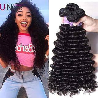 UNice Hair Kysiss Series Brazilian Deep Wave Hair 3 Bundles 100% Unprocessed Virgin Hair Human Hair Weave Extensions Natural Color (16 18 20)