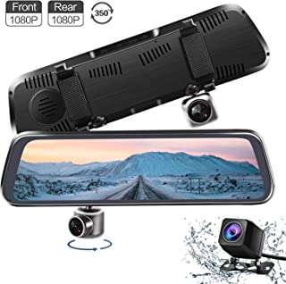 CHICOM Mirror Dash Cam,Backup Camera 10 1080P Touch Screen Dash Camera 350° Rotating Front Camera and 140°Wide Angle Full HD Waterproof Rear View Reversing Camera