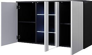 muebles bonitos Buffet modèle Luke A1 (120x70cm) Suspendu Noir Blanc