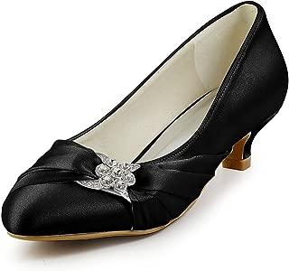 Women Closed Toe Comfort Heel Rhinestone Satin Wedding Bridal Shoes