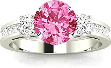 Channel Set 3 Three Stone Diamond Engagement Ring with a 3 Carat Pink Sapphire Heirloom Quality Center