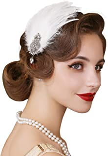 SWEETV 1920s Feather Headpiece Flapper Headband, Roaring 20s Hair Accessories Great Gatsby Hair Clip White