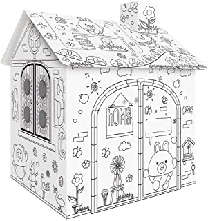 Eastdall Paper Craft Kit,DIY Large Cardboard Coloring Creative Crafts Play House Project Assemble and Paint Educational To...