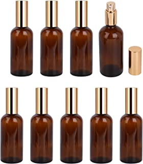Foraineam 9 Pack 100ml / 3.4 oz. Amber Glass Spray Bottle with Atomizer, Fine Mist Spray, Refillable Container for Perfume, Cleaning Products, Essential Oils