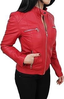 Giacca giubbotto donna rosso ecopelle casual chiodo nuovo slim fit da S a XXXL