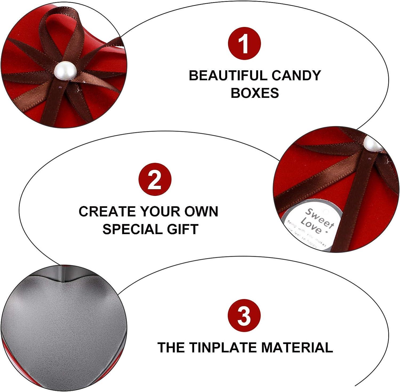 BESPORTBLE Bo/îte /à Bonbons en M/étal Bo/îtes en Fer Blanc en Forme de Coeur Bo/îtes /à Biscuits Rouges avec Couvercle en Arc Bo/îtes de Nidification Contenants de Cadeaux D/écoratifs pour Les