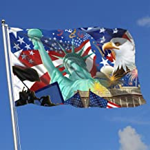 YAKER American Flag Statue of Liberty Bald Eagles Flags 3x5 Foot Banner 3X5 Ft Polyester Banner Flags