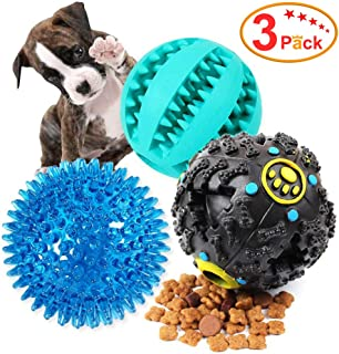 EETOYS Dog Treat Dispensing Toy IQ Treat Ball with Squeaker Rubber Dog Chew Toy Dog Puzzle Toys Best for Puppy and Small Medium Dogs Increases IQ and Mental Stimulation (3 Pack)