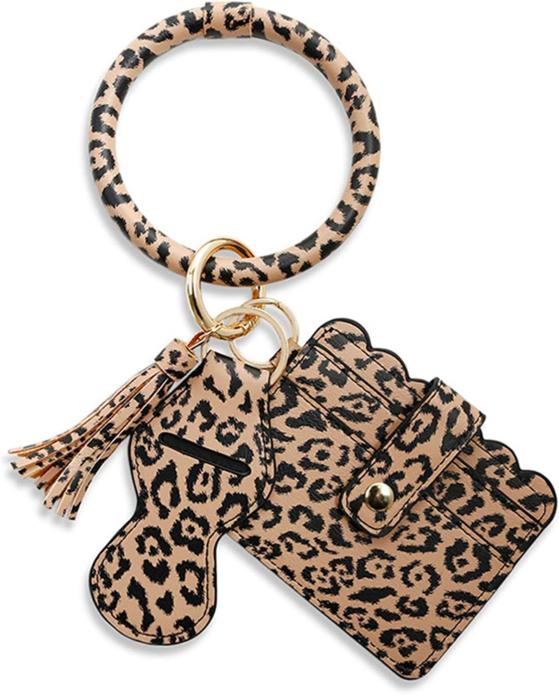 Keychain Wallet Bracelet Wristlet Pocket Card Holder Tassel Keyring with Lipstick Holder for Women, Girls
