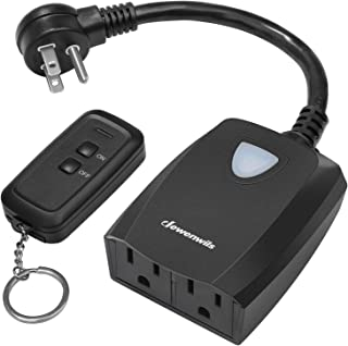DEWENWILS Outdoor Indoor Remote Control Outlet Power Strip Weatherproof, Expandable..