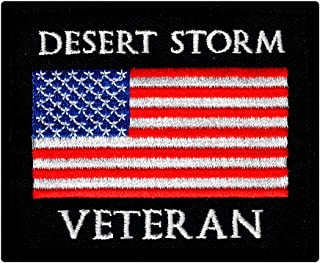Desert Storm Veteran Embroidered Patch US Military Vet Iron-On Emblem Flag
