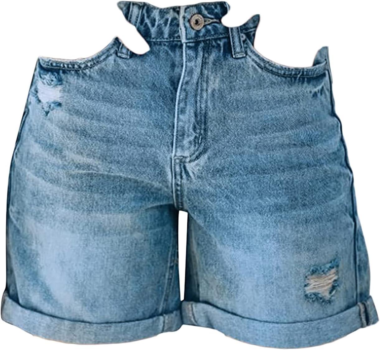 Women's Classic Rolled Hem Jean Shorts High Waist Distressed Ripped Short Jeans Cuffed Straight Leg Holes Denim Shorts (Blue,Medium)