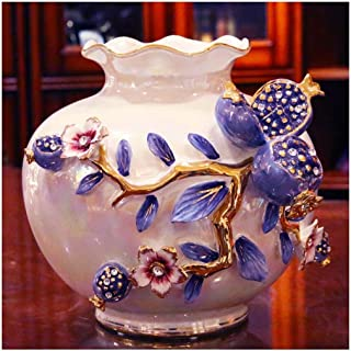 Ceramic Vase Creative European-Style Living Room Home Simulation Flower Dried Flower Plug Vase (Color : B)
