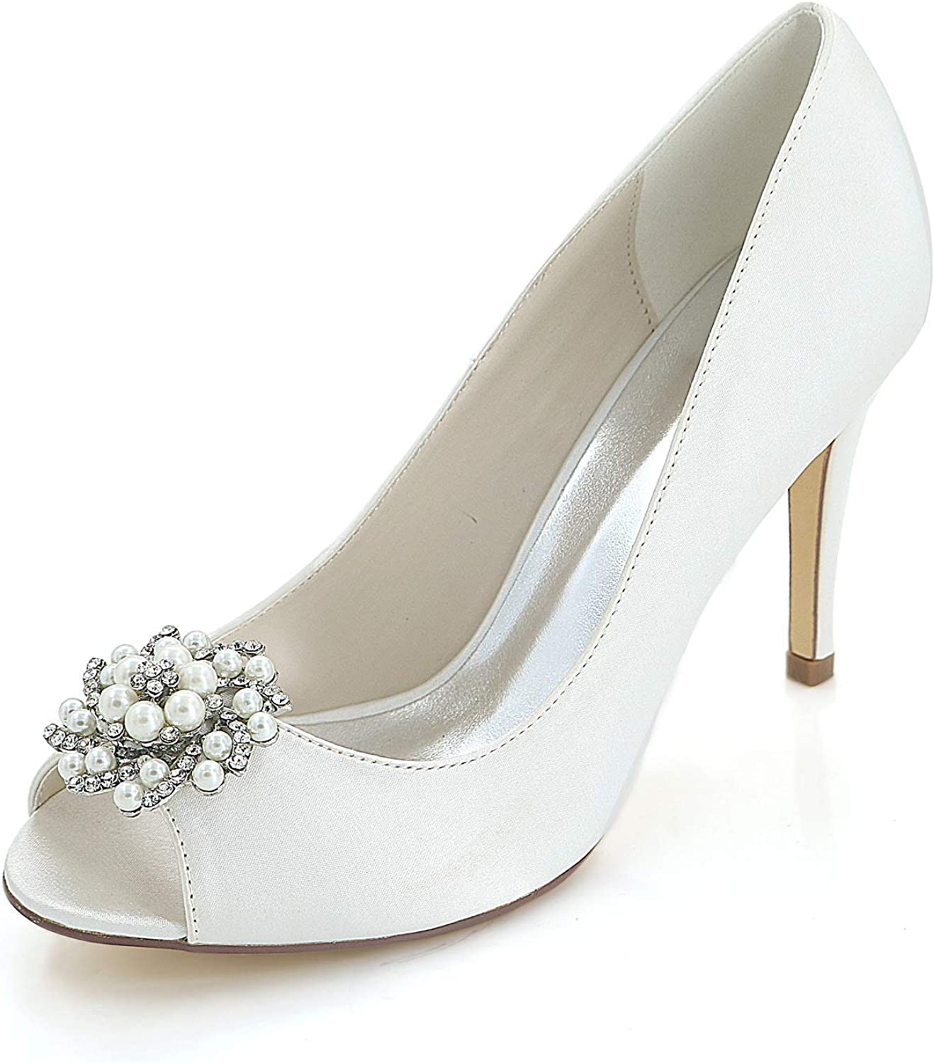 CCBubble High Heels Satin Bridal Pumps Peep Toe Crystals Formal Party shoes Woman Y5623-12W