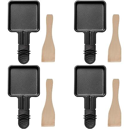 COSYLAND 4 Pièces Poêles à Raclette Avec Couche Antiadhésive pour Accessoires de Grill / Raclette électriques Universels Avec 4 Raclettes en Bois à Raclette, 18 x 8 x 0,5 cm