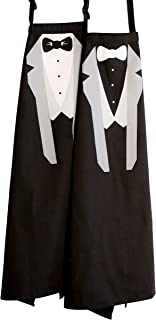 Gay Wedding Apron Set : His and His Same Sex Couples Tuxedo Aprons : Perfect For Wedding Engagement Shower : Black and White, Set of 2