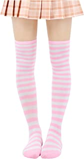 DAZCOS Striped Stockings Over Knee Thigh High Socks Anime Preppy Socks Multi color