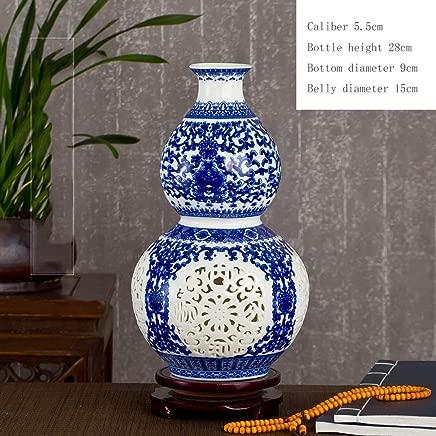 Jingdezhen Ceramic Vase Ornaments Living Room Floral Pastels Hollow Porcelain Wine Cooler Modern Chinese Home Decorations Send Swivel Base (Size : J)