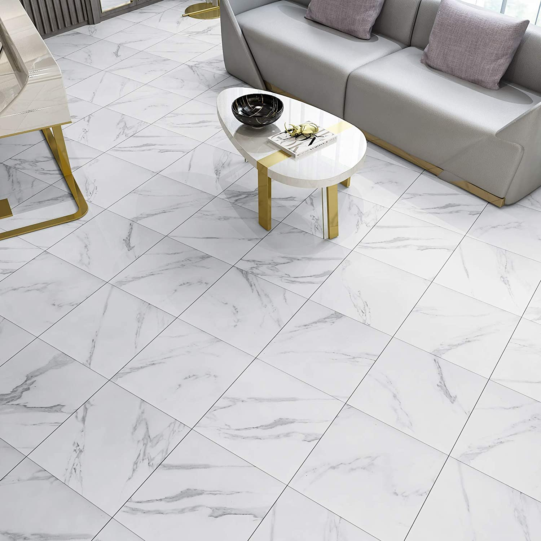 Westick 20 Pcs Bedroom Living Room Vinyl Flooring Peel And Stick Home Decoration White Marble Peel And Stick Floor Tile Waterproof Non Slip Self Adhesive 12 X 12 Amazon Com