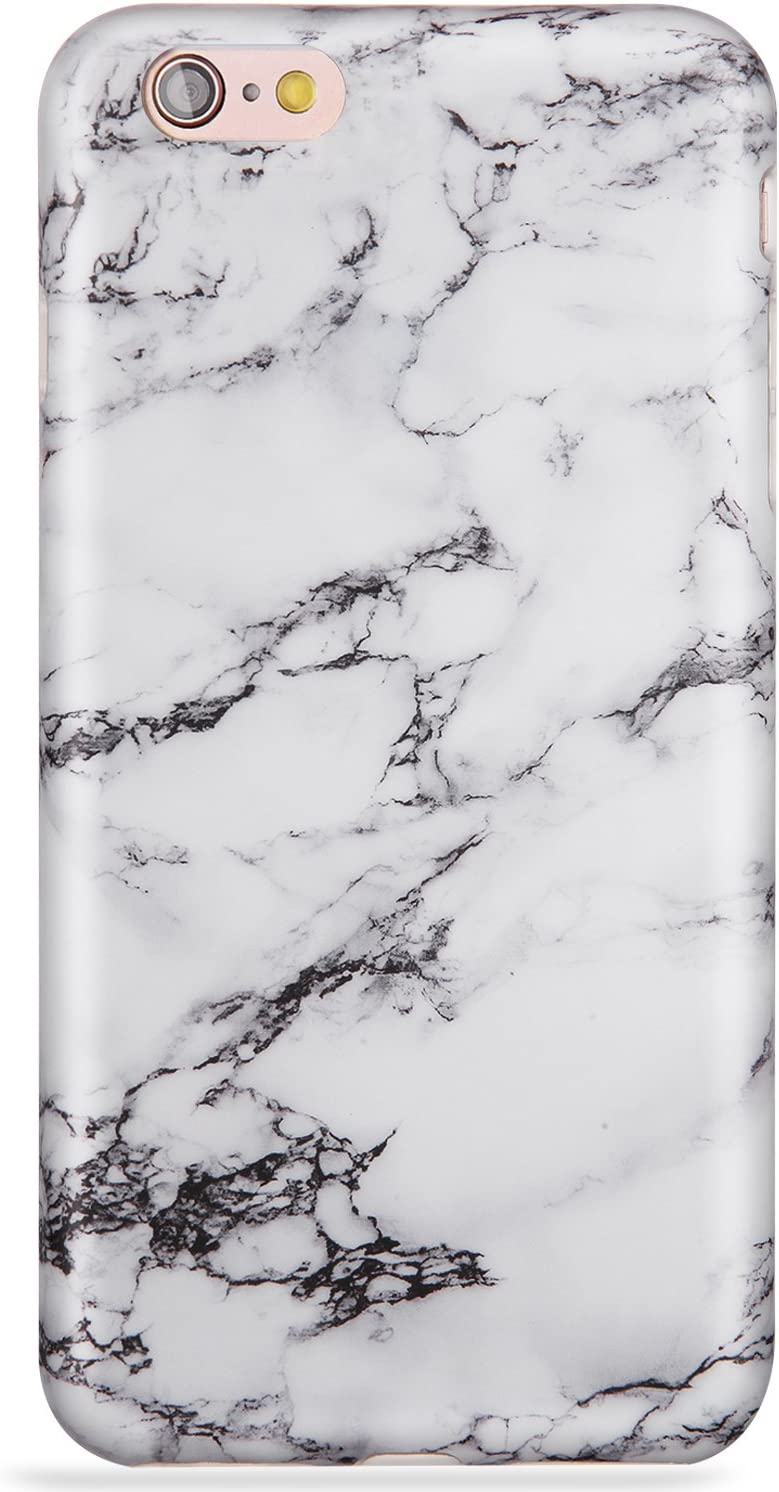 LUMARKE iPhone 6 Plus Case,iPhone 6s Plus Case,Cute Black White Marble for Men Girls Women Slim Glossy TPU Clear Bumper Soft Rubber Silicone Best Protective Phone Case Cover for iPhone 6 6s Plus