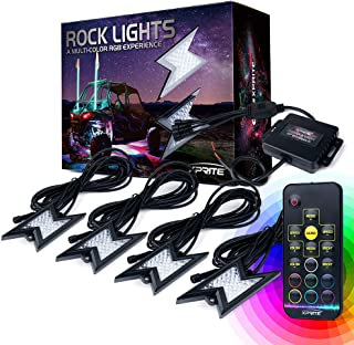 Xprite 4pc RGB LED Rock Lights with Wireless Remote Control, Flashing, Auto Scroll Modes, Multicolor Lightning Pods Kit for Underglow Off Road Truck JEEP UTV ATV SUV - Z-Force (Patent Pending Design)