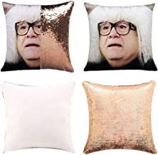 K T One Funny DIY Sequin Pillows Cover Face Magic Reversible Throw Pillow Cover Decorative Change Color Pillowcase 16x16 (...