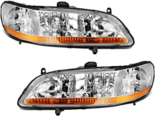 Partsam Headlight Assembly Compatible with Honda Accord 1998 1999 2000 2001 2002 2-Door / 4-Door Side Left Right Replacement Headlamp Chrome Housing Amber Corner Reflector (Driver and Passenger Side)