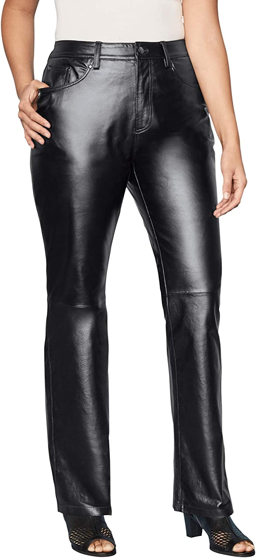 Jessica London Women's Super beauty product restock quality top Plus Fresno Mall Size Straight Leather Leg Pants
