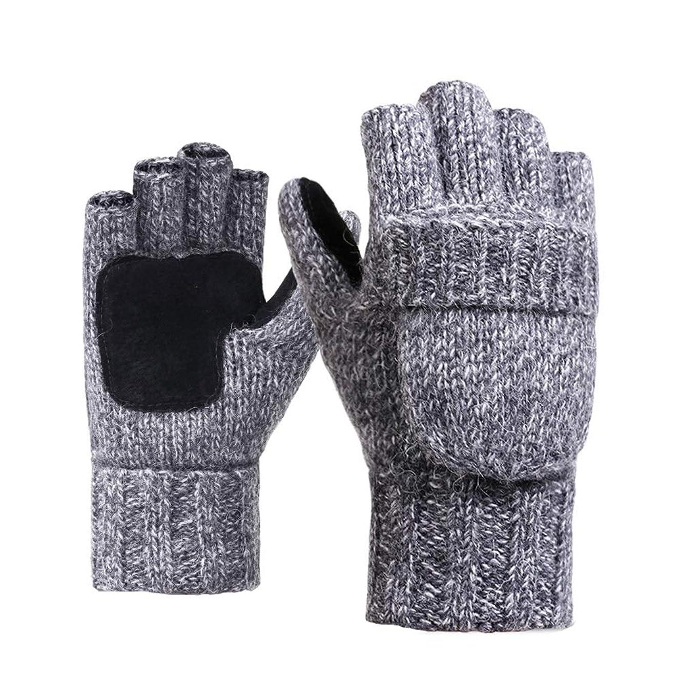 部屋を掃除するバイバイ矢じり半指フリップぬいぐるみ手袋男性のニット冬の女性とベルベットは、暖かい手袋を乗る