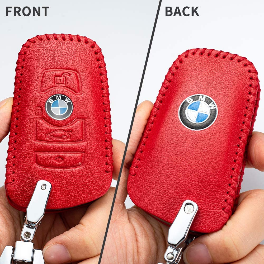 4 Button Smart Key Car Key fob Cover Key case for BMW Genuine Leather Protector Keychain GT3 GT5 X3 X4 1 2 3 4 5 Series Key fob Cover Key Holder