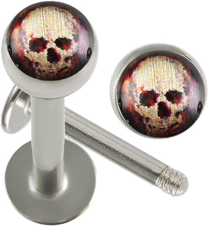 bodyjewellery 16g Gauge 3/8 10mm Surgical Steel Lip Bar Labret Ring Monroe Ear Tragus Stud Bars Ball 3mm Skull Logo Piercing 2Pcs AHGD