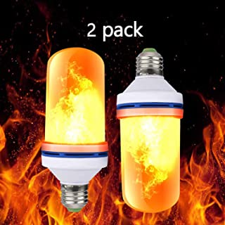 LED Flame Bulb, LED Flame Effect Light Bulb, E26 Standard Base, Atmosphere Decoration Fire Flickering Simulation 108pcs 2835 LED Beads -Flame Bulb for Home Decoration (2 Pack)