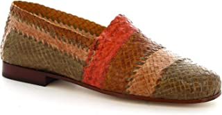 Leonardo Shoes Mocassini Donna Artigianali in Pelle Multicolore Intrecciata - Codice Modello: 3 Vitello Multicolor