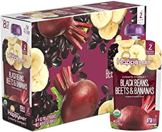 Happy Baby Organic Clearly Crafted Stage 2 Baby Food Black Bean, Beets & Bananas, 4..