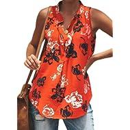 Silindashop Women's Boho V Neck Sleeveless Tank Tops Button Front Spaghetti Strap Loose Tunic...