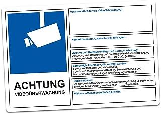 Waarschuwing Viedobewaking DSGVO BDSG gegevensbescherming info blauw videobewaking sticker waarschuwing diefstal (R069) 30...
