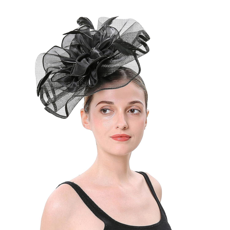 Girls Hat Cocktail Party Headband Headpiece Wedding Hat Elegant Hair Clips Party Headwewar for Girls (Black)