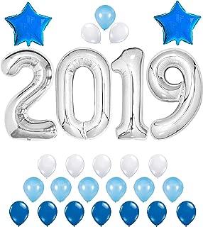 KATCHON 2019 Balloons - Silver/Blue Decorations Kit - Large 40