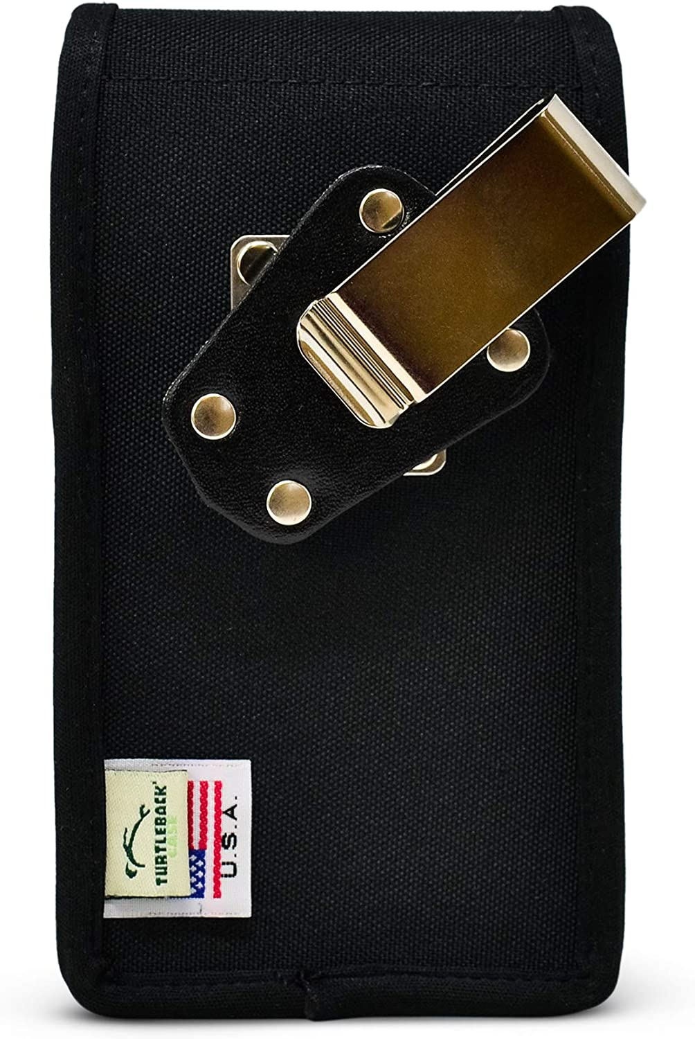 Turtleback Holster Designed for iPhone 13 Pro, 13/12 & 12 Pro Vertical Holster Black Nylon Pouch with Heavy Duty Rotating Belt Clip, Made in USA