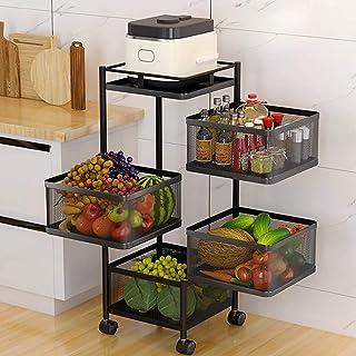 MAMINGBO Panier de fruits roulants avec roues Rotatifs étagère au sol Robinet 4 niveaux de fruits de légumes pour organise...