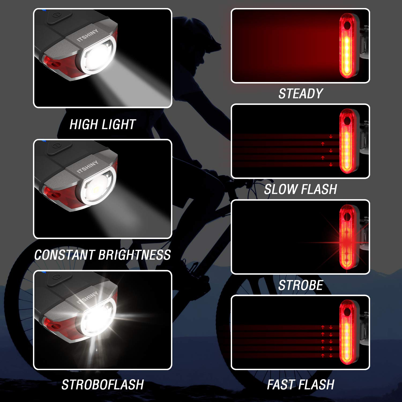 ITSHINY luz Bicicleta, Luces para Bicicleta LED Recargable e ...