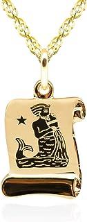 Collana in oro - 14K. Pendente con pergamena segno zodiacale Acquario. peso gr 2.00