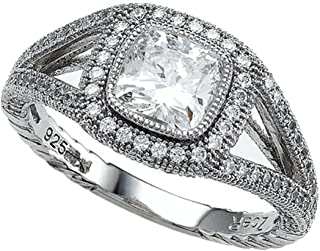 Zoe R Sterling Silver Micro Pave Hand Set Cubic Zirconia Halo Cushion Cut Engagement Ring