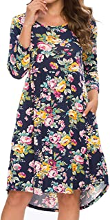 Women's 3/4 Sleeve Dress Round Neck Casual Style Two Side Pockets High Elasticity