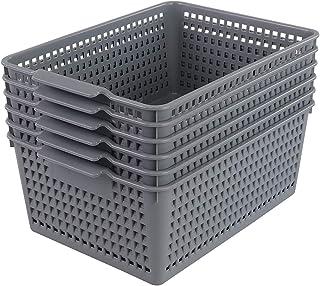 Farmoon Lot de 6 paniers de rangement en plastique gris