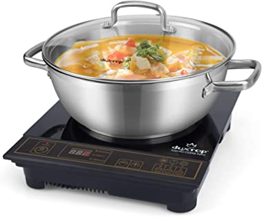 Duxtop 1800W Portable Induction Cooktop, Countertop Burner Included 5.7 Quarts Professional Stainless Steel Cooking Pot with