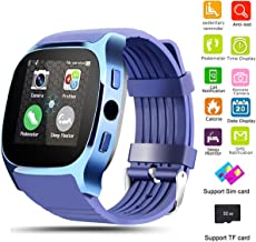 Smart Watch Bluetooth Unlocked Wristwatch Cell Phone With SIM TF Card Slot Camera Pedometer Sleep Monitoring for Men Boys Women Girls for IOS iPhone Android Samsung LG Motorola Huawei HTC (Blue)